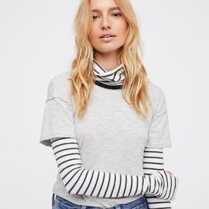 We The Free People Piper Two-Fer Tee Grey Long L